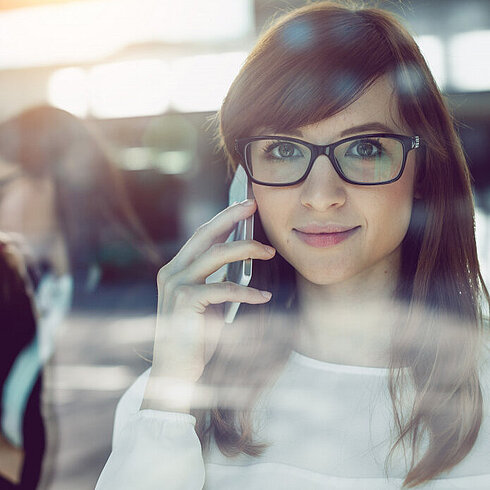 Woman with phone, phone, smartphone, contact, smiling, woman with glasses,